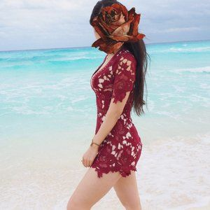 Best Red Lace Romper mini dress Party/Vacation/Ins